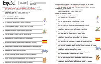 Hacer   Time / Cuanto Tiempo Hace With Family 12 Sentences Worksheet