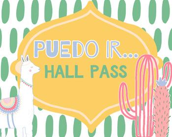 Spanish Hall Pass - Llama & Cactus Theme