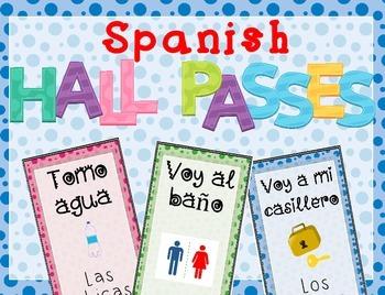Spanish Hall Passes - Bathroom, Locker, Nurse & Water - Se