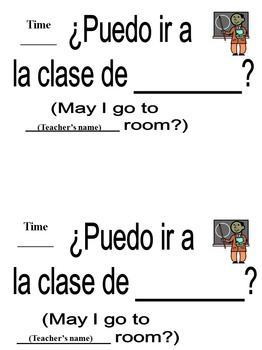 Spanish Hall Passes / Class Signs