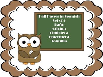 Spanish Hall Passes-Set of 5