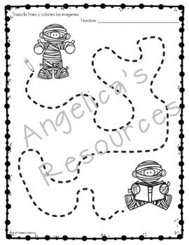 Spanish Halloween Activities : Traza y Colorea - Fine Motor Printables