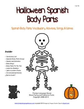 Spanish Halloween Body Parts Activities
