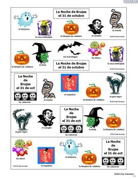 Spanish Halloween Bookmarks With and Without Vocabulary Words