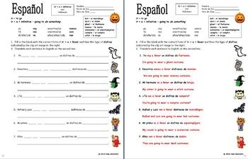 Spanish Halloween Bundle - 2 Puzzles, Vocabulary, Image IDs, Ir A Infinitive