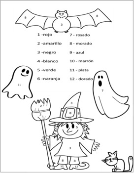 Spanish Halloween Color By Number