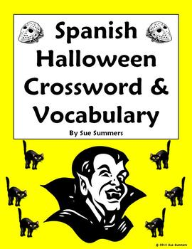 Spanish Halloween Crossword, Image IDs and Vocabulary Reference - 35 Words!