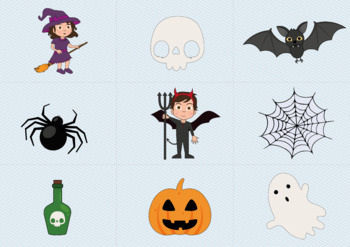 Spanish Halloween Flashcards / Posters + Quizzes