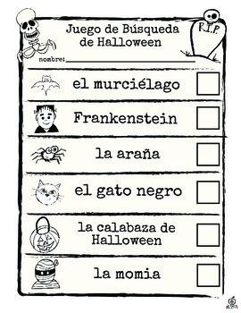 Spanish Halloween Literacy Center: Spanish Halloween Scavenger Hunt