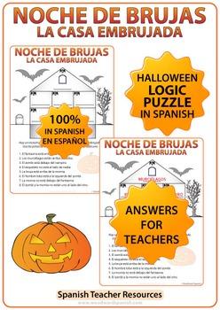 Spanish Halloween Logic Puzzle using Prepositions
