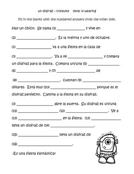 Spanish Halloween Mad Lib