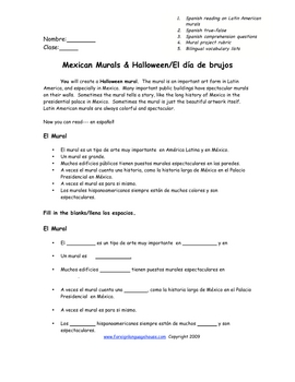 Spanish Halloween Mural Reading & Project