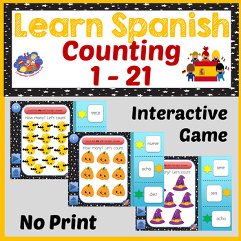 Spanish Halloween Number Game - Counting 1 - 21 - No Print