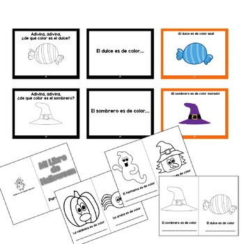 Spanish Halloween Packet: Guessing Book, Flashcards & Coloring Pages