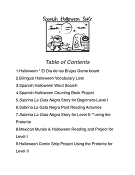 Spanish Halloween Suite of Activities