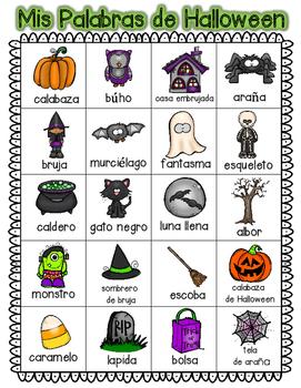 Spanish Halloween Themed Word Work