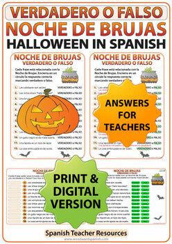 Spanish Halloween True or False Quiz