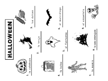 Spanish Halloween Vocab Presentation, Worksheets, Puzzles and Color by Number