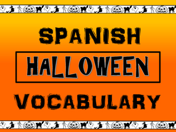 Spanish Halloween Vocab Presentation, Worksheets, Puzzles