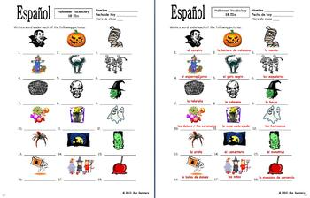 Spanish Halloween Vocabulary 18 Images to Identify - El Dia de Brujas