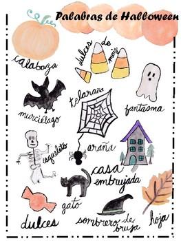 Spanish Halloween Vocabulary Freebie