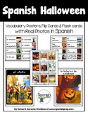 Spanish Halloween Vocabulary Posters & Flashcards with Rea