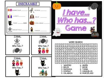 Spanish Halloween Vocabulary Words and Activities