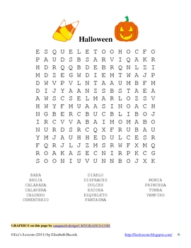 spanish halloween vocabulary and activities by liz 39 s lessons tpt. Black Bedroom Furniture Sets. Home Design Ideas
