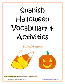 Spanish Halloween Vocabulary and Activities! by Liz's Lessons   TpT