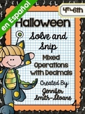 Spanish Halloween Math Activity | All Operations with Decimals | Solve and Snip®