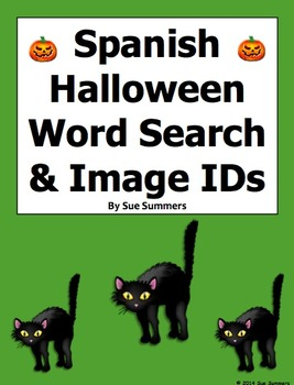 Spanish Halloween Word Search Puzzle and Image IDs - 22 Words!