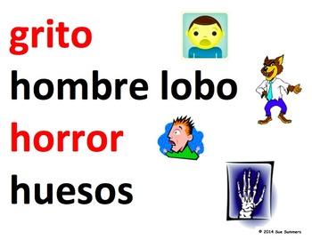 Spanish Halloween Word Wall - El Dia de las Brujas - 39 Words
