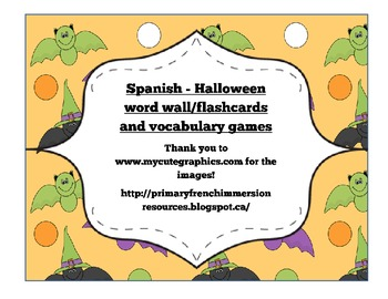 Spanish Halloween flashcards & vocabulary games - Víspera