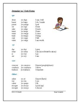 Irregular Yo Form Verbs - Salgo, Vengo, Tengo, Hago etc.