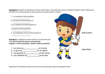 Spanish Handout (Sports, colors, the body - Deportes, colores, el cuerpo)