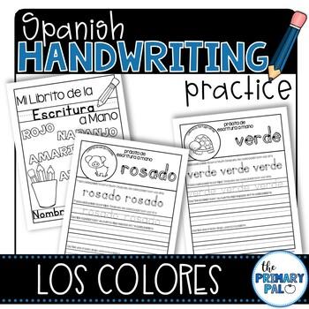 Spanish Handwriting Practice: Color Words