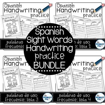 Spanish Handwriting Practice: Sight Words Bundle