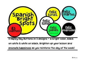 Spanish Days of the Week Buttons