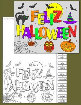Spanish Halloween color by number cards Feliz Halloween