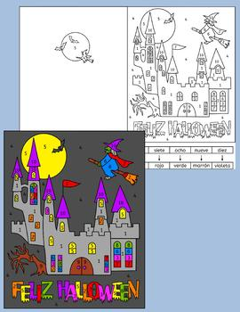 Spanish Halloween color by number cards Feliz Halloween