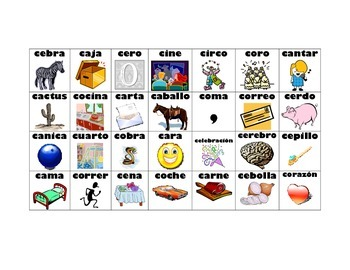 Spanish Hard and Soft c/g Word Sort
