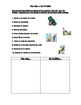 Spanish- Hay Que, Se Prohíbe Worksheet with Airport/Travel vocab