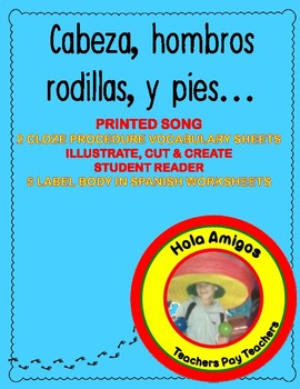 Cabeza, Hombros, Rodillas,  y Pies - Plus printable worksheets.