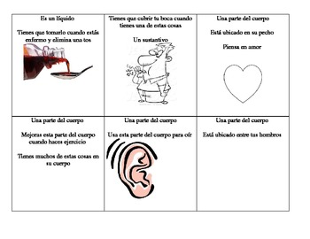 Spanish Health & Fitness Flash Card game