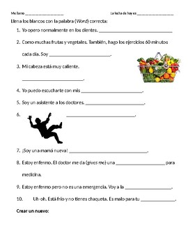 Spanish Health Vocabulary Fill-in-the-blanks