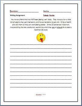 Spanish - Health Writing Assignment