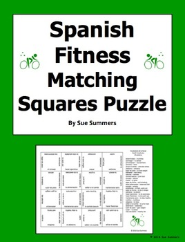 Spanish Health and Fitness 4 x 4 Matching Squares Puzzle