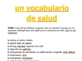 Spanish Health and Wellness Vocabulary