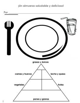 Spanish Healthy Meal & Food Pyramid Worksheet   Almuerzo Saludable