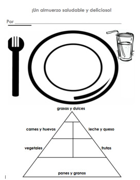 photograph regarding Food Pyramid Printable identified as Spanish Balanced Dinner Meals Pyramid Worksheet Almuerzo Saludable